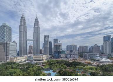 KUALA LUMPUR, MALAYSIA - CIRCA 2016: Petronas Towers