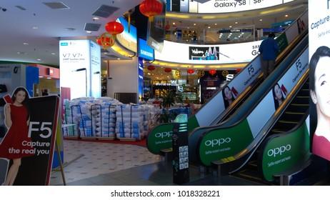 KUALA LUMPUR, MALAYSIA - CIRCA 2017: Internal view of Low Yat Plaza Interior in Kuala Lumpur, Malaysia. Low Yat Plaza is a modern hi-tech shopping mall specializing in electronic