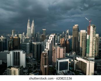 Kuala Lumpur, Malaysia - Circa December 2016 - The impressive petronas towers are the landmark of Kuala Lumpur