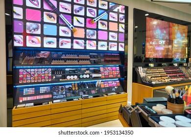 KUALA LUMPUR, MALAYSIA - CIRCA JANUARY, 2020: Shu Uemura personal care products on display at a store in Suria KLCC shopping mall in Kuala Lumpur.