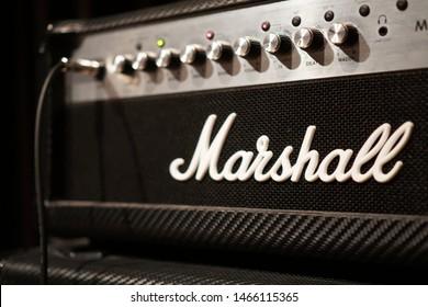 Kuala Lumpur, Malaysia, Circa Jun 2019 - Marshall guitar amp in studio