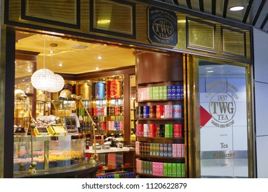 Kuala Lumpur, Malaysia - Circa March 2018: Exterior view of TWG tea salon and boutique at Kuala Lumpur International Airport. TWG Tea is a brand of tea which was established in Singapore in 2008.