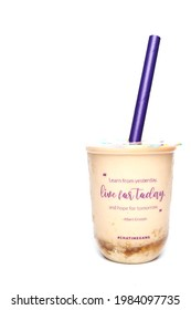 'Kuala Lumpur, Malaysia- Circa May, 2021: A picture of Chatime boba tea container written Albert Einstein quote. Learn from yesterday, live for today and hope for tomorrow