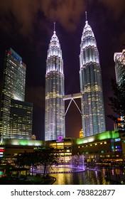Kuala Lumpur, MALAYSIA - CIRCA MAY 2017: Illuminated Petronas Twin Towers (fondly known as KLCC) at night