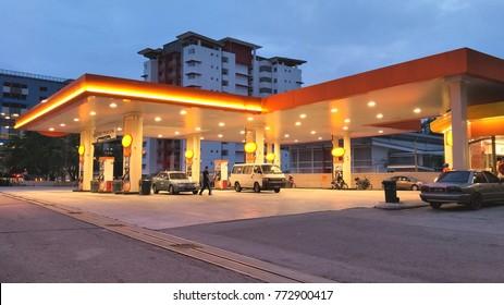 KUALA LUMPUR, MALAYSIA - DEC 11 2017: BHP petrol station at night.