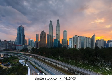 KUALA LUMPUR, MALAYSIA - DEC 14, 2012: Blue hour view of the Petronas Twin Towers at KLCC City Center. The most popular tourist destination in Malaysian capital