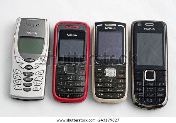 KUALA LUMPUR, MALAYSIA - Dec 30, 2013 - A series of old mobile phones by manufacturer NOKIA which at one period of time, very popular all over the world.