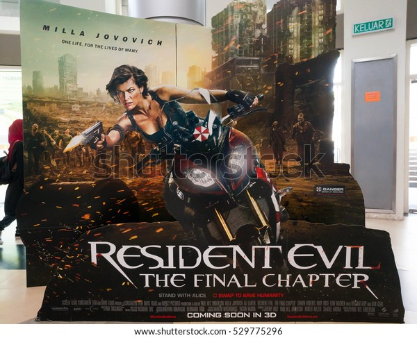 KUALA LUMPUR, MALAYSIA - DEC 4, 2016 : Resident Evil: The Final Chapter movie poster. It is the science fiction action horror film sequel to Resident Evil series, written and directed by Paul Anderson