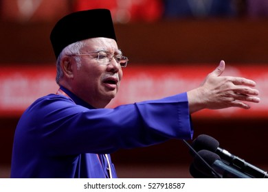 KUALA LUMPUR, MALAYSIA - DECEMBER 01, 2016: Prime Minister of Malaysia and President of UMNO, Najib Razak deliver his keynote address during the UMNO's 70th General Assembly in Kuala Lumpur.