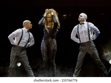 Kuala Lumpur, Malaysia, December 02, 2012: Puerto Rican actress, singer and dancer Jennifer Lopez performs during her Dance Again World Tour in Kuala Lumpur, Malaysia.