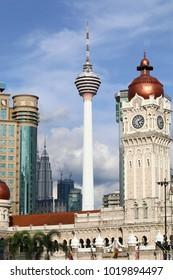 KUALA LUMPUR, MALAYSIA - DECEMBER 03, 2017: The KL tower is a popular tourism landmark in Kuala Lumpur, Malaysia.