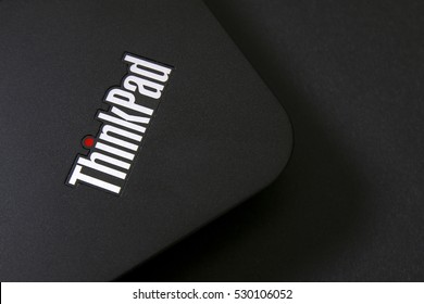 KUALA LUMPUR, MALAYSIA - DECEMBER 05, 2016 : Thinkpad label on a Lenovo laptop. The Thinkpad series was designed, developed and sold by IBM until Lenovo aquired IBM in the year 2005.