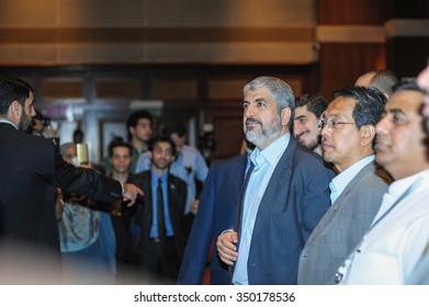 KUALA LUMPUR, MALAYSIA - DECEMBER 10 2015: Khalid Meshaal, Hamas Politburo Chief, gives a talk in Kuala Lumpur, Malaysia, under PCOM (Palestinian Cultural Organization Malaysia)