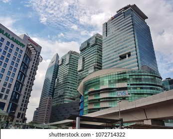 Kuala Lumpur, Malaysia - December 11, 2017 : View from of KL Sentral a transit-oriented development that houses the main railway station of Kuala Lumpur.