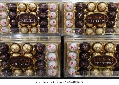Kuala Lumpur, Malaysia - December 14, 2018 : Ferrero Rocher on shelf at hypermarket, Ferrero Rocher is a chocolate sweet made by Italian Ferrero Spa.