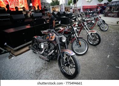 KUALA LUMPUR, MALAYSIA - December 15, 2017: Custom build  motorcycle on display during KL Bike Week 2017 held  in Kuala Lumpur, Malaysia.
