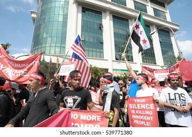 KUALA LUMPUR, MALAYSIA - DECEMBER 16 2016: Peaceful rally demonstration under Aman Palestin NGO group at Russian Embassy in Kuala Lumpur, Malaysia.