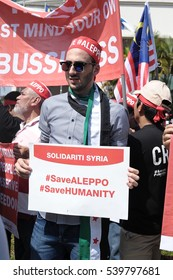 KUALA LUMPUR, MALAYSIA - DECEMBER 16 2016: Peaceful rally demonstration under Aman Palestin NGO group in solidarity for Aleppo, Syria at Russian Embassy in Kuala Lumpur, Malaysia.