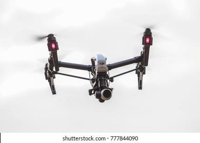 KUALA LUMPUR, MALAYSIA - DECEMBER 16, 2017. A picture of DJI Inspire 1 Pro flying mid air in Kuala Lumpur.