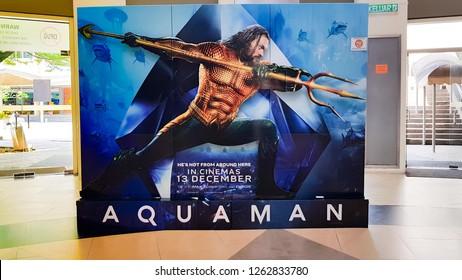 KUALA LUMPUR, MALAYSIA - DECEMBER 18, 2018: Aquaman movie poster. Aquaman is a 2018 American superhero film based on the DC Comics character