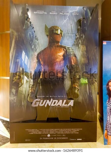 KUALA LUMPUR, MALAYSIA - DECEMBER 18, 2019: Gundala movie standee, is a 2019 Indonesian superhero film based on the comics character Gundala