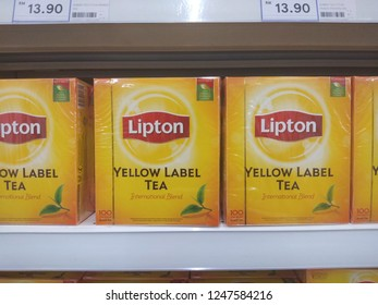 KUALA LUMPUR, MALAYSIA - December 2, 2018: Lipton or tea drink on display shelf at supermarket.