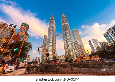 KUALA LUMPUR, MALAYSIA - DECEMBER 20: Night time of Petronas Twin Towers on December 20, 2014 in Kuala Lumpur, Malaysia. This building (451.9m/88 floors) is the tallest twin buildings in the world