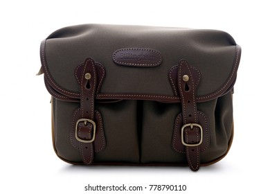 Kuala Lumpur, Malaysia - December 20, 2017: BILLINGHAM HADLEY SMALL SHOULDER BAG in Sage with Khaki FibreNyte and Chocolate Leather trim on white background.