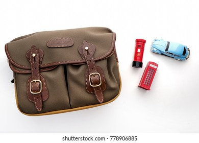 Kuala Lumpur, Malaysia - December 20, 2017: BILLINGHAM HADLEY SMALL SHOULDER BAG in Sage with Khaki FibreNyte and Chocolate Leather trim. Billingham bags is a British brand of professional camera bag.