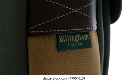 Kuala Lumpur, Malaysia - December 20, 2017: Close up brand of Billingham  Hadley small bag in Sage with Khaki FibreNyte and Chocolate Leather trim colour.