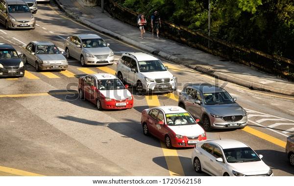 Kuala Lumpur, Malaysia, December 20, 2018: View of day time vehicular traffic on the roads of Kuala Lumpur, capital city of Malaysia