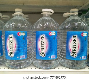 Kuala Lumpur , Malaysia - December 2017 : Spritzer brand drinking water display on the supermarket shelf.