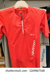 Kuala Lumpur, Malaysia - December 2018 : Salomon dri fit shirt display for sale at Mitsui outlet store. SALOMON International.Sporting goods for men, women and children.