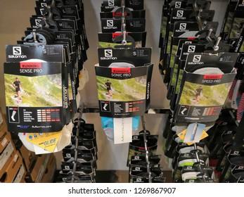 Kuala Lumpur, Malaysia - December 2018 : Inside Salomon store at Mitsui outlet store. SALOMON International. Sporting goods for men, women and children.