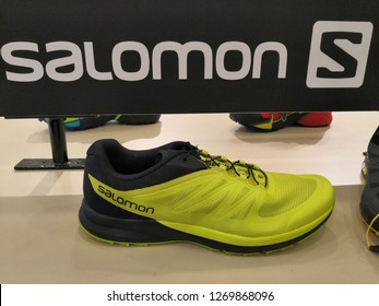 Kuala Lumpur, Malaysia - December 2018 : Salomon shoes display for sale at Mitsui outlet store. SALOMON International. Sporting goods for men, women and children.