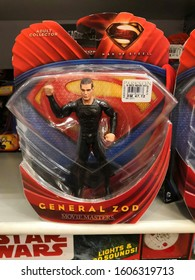Kuala Lumpur , Malaysia - December 2019 : Man of Steel General Zod movie character toy display for sale in the Parkson store.The character was created by writer Jerry Siegel and Joe Shuster.