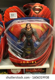 Kuala Lumpur , Malaysia - December 2019 : Man of Steel Jor El movie character toy display for sale in the Parkson store.The character was created by writer Jerry Siegel and Joe Shuster.