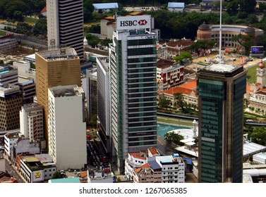 Kuala Lumpur, Malaysia - December 22, 2018: The HSBC Bank located in Leboh Ampang, Kuala Lumpur, Malaysia. HSBC, is one of the largest banking and financial services institutions in the world.