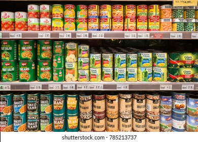 KUALA LUMPUR, MALAYSIA - DECEMBER 22, 2017: Canned beans, corn and vegetables are displayed in a supermarket shelf in Malaysia