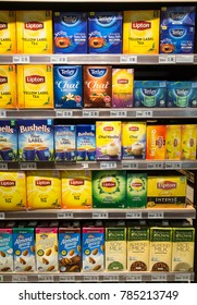 KUALA LUMPUR, MALAYSIA - DECEMBER 22, 2017: Tea bags boxes from Lipton or Tetley are displayed in a supermarket shelf in Malaysia
