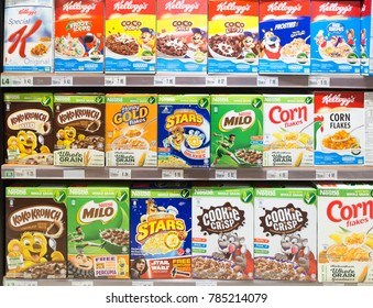 KUALA LUMPUR, MALAYSIA - DECEMBER 22, 2017: Boxes of breakfast cereals, from the Nestle and Kellogg's brands,  are displayed in a supermarket shelf in Malaysia