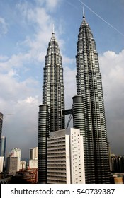 Kuala Lumpur, Malaysia - December 25, 2006:  The twin Petronas Towers at KLCC soar to a height of 451.9 metres over the city
