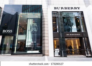 KUALA LUMPUR, MALAYSIA - DECEMBER 26: Hugo Boss and Burberry stores at the Pavilion shopping mall in Bukit Bintang. Photo taken December 26, 2013 in Kuala Lumpur, Malaysia.