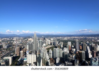 KUALA LUMPUR, MALAYSIA - DECEMBER 26, 2015 : Aerial view from KL tower of Kuala Lumpur city under clear skies.
