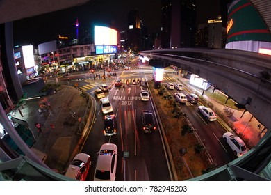 KUALA LUMPUR, MALAYSIA - December, 28 2017: Night view of busy traffic on Jalan Bukit Bintang and from there can see the beautiful KL Tower in Kuala Lumpur Malaysia.