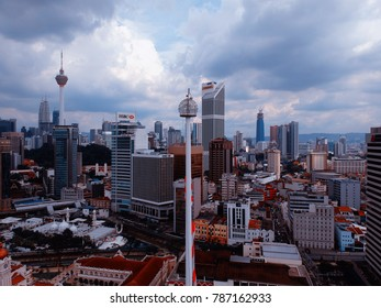 Kuala Lumpur, Malaysia - December 28, 2017: Aerial view of Malaysia's flag at Merdeka Square