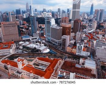 Kuala Lumpur, Malaysia - December 28, 2017: Aerial view of Kuala Lumpur City skyline on cloudy day