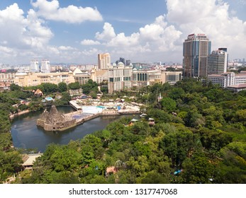 KUALA LUMPUR, MALAYSIA - DECEMBER 31, 2018 : Aerial view of the Sunway Lagoon water theme park, one of the popular tourist destinations for water activities and shopping in Kuala Lumpur.