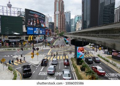 KUALA LUMPUR, MALAYSIA - DECEMBER 31,2017 : Bukit Bintang area is Kuala Lumpur Golden Triangle commercial district.Famous with luxury shopping complex and entertaiment