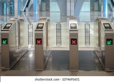 KUALA LUMPUR, MALAYSIA - December 31st ,  2017: Commuters entrance and exit gate at Malaysia MRT (Mass Rapid Transit) station.  MRT is Mass Rapid Transit Corporation Sdn Bhd, in Kuala Lumpur, Malaysia